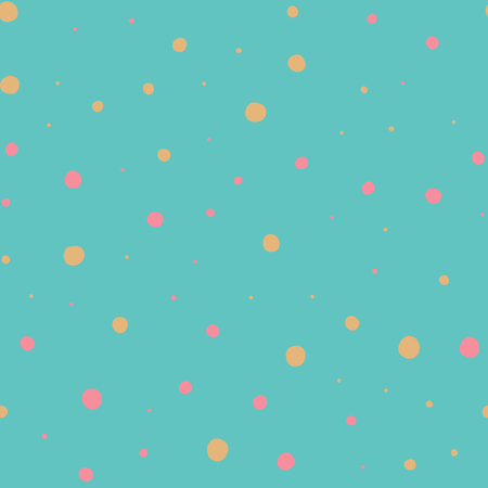 Asymmetrical Seamless Blue Fun Banner of Circles, Spheres, Donuts Background, Modern Stylish Dot Template, Halftone Illustration, Irregular Shapes, Trendy Print, Dotted Swiss