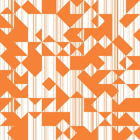 Modern Style Abstraction with Composition Made of Various Triangles and Lines, Fashion Orange Background of Geometric Shapes, Sun Trendy Mosaic Pattern.