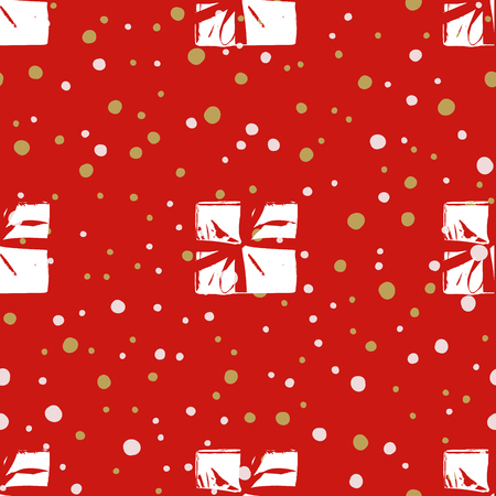 wrappers: Winter Seamless Pattern with Christmas Gift Boxes. Wrapped Boxes with Stripes and Bows Flat Vector on Color Background for Gift Wrapping Paper, Christmas Greeting Card, Invitations