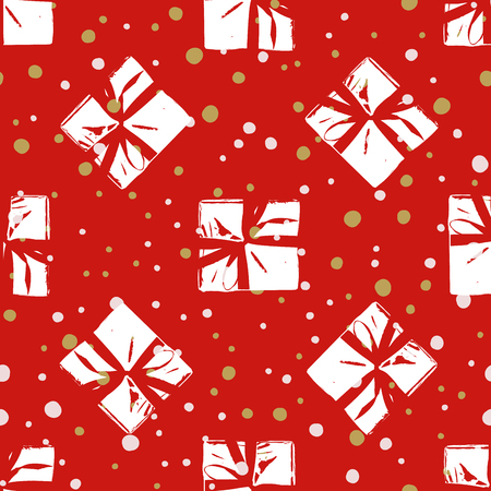 Winter Seamless Pattern with Christmas Gift Boxes. Wrapped Boxes with Stripes and Bows Flat Vector on Color Background for Gift Wrapping Paper, Christmas Greeting Card, Invitations
