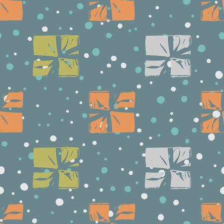 Modèle sans couture d'hiver avec des boîtes-cadeaux de Noël. Boîtes enveloppées avec des rayures et des arcs Vector plate sur fond de couleur pour le papier d'emballage cadeau, carte de voeux de Noël, invitations