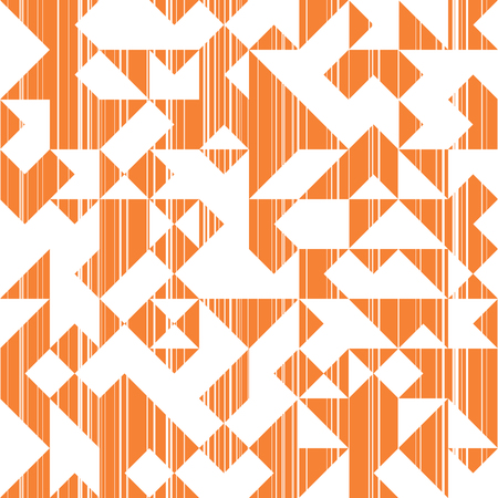 Modern Style Abstraction with Composition Made of Various Triangles and Lines, Fashion Orange Background of Geometric Shapes, Sun Trendy Mosaic Pattern Illustration