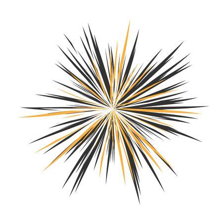 Abstracte sterralen, vakantievuurwerk, dynamietuitbarsting, zonuitbarsting, steruitbarstingzon, uitstralen van het centrum van stralen, abstracte explosie