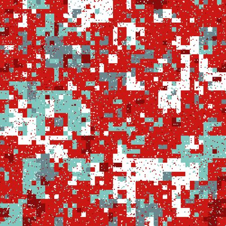 New Years Christmas Pixel Patterns, Modern Xmas Backgrounds, Winter Fashion Pattern Swatches made with Christmas Colors.