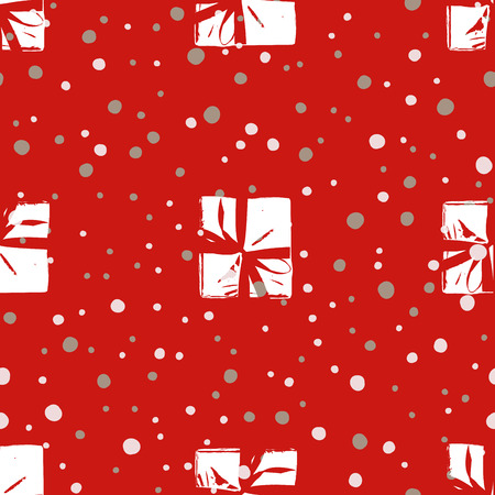 Winter pattern with Christmas gift boxes. Illustration