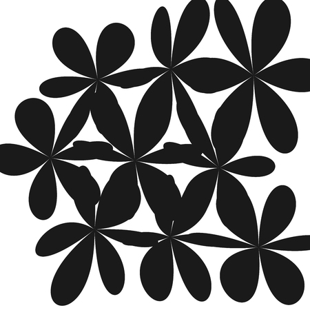 Black flowers pattern. Illustration