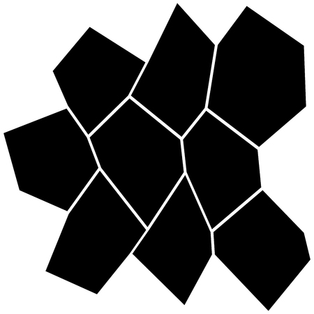Black and White Irregular Grid, Modular Structure Mesh Pattern, Abstract Geometric Polygon Texture, Mosaic Template, Collage Background.