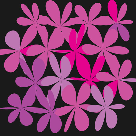Whimsical floral background. Pink flower on black background. Exquisite gentle floral graphic ornament.