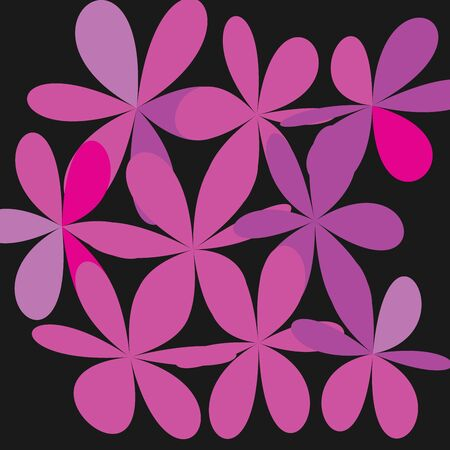 Whimsical floral background, pink flower on black exquisite gentle floral graphic ornament, minimalistic fashion ornament.
