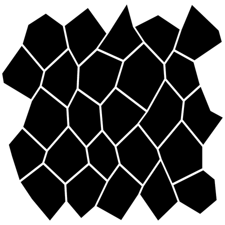 Black and white irregular grid, modular structure mesh pattern, abstract monochrome geometric polygon texture, photo mosaic template, photo collage background Illustration