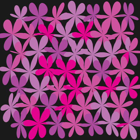 Whimsical floral background. Flower pink on black, exquisite gentle floral graphic ornament. Minimalistic fashion ornament flower. Illustration