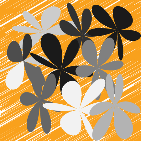 Whimsical floral background. Flower on orange, exquisite gentle floral graphic ornament. Minimalistic fashion ornament flower. Illustration