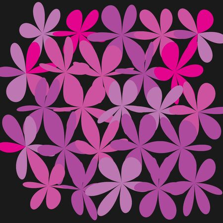Whimsical Floral Background Pink Flower on Black Exquisite Gentle Floral Graphic Ornament minimalistic Fashion Ornament Flower bw Illustration