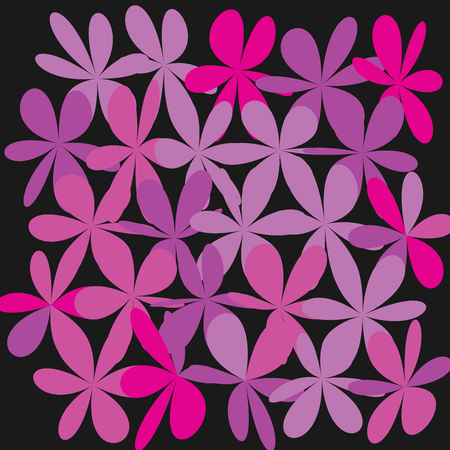 Whimsical floral background, pink flower on black. Exquisite gentle floral graphic ornament. Minimalistic fashion ornament. Illustration