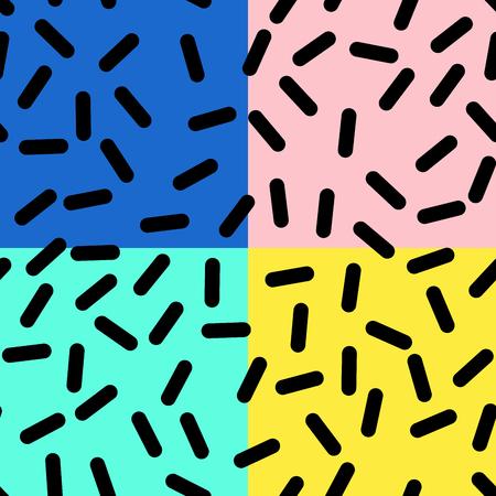 Abstract Trendy Retro Geometric Element Template, Seamless Pattern in Neo Memphis Style Design, Festive Retro Fashion Style 80-90s Illustration