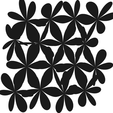 Whimsical floral black and white ornament.