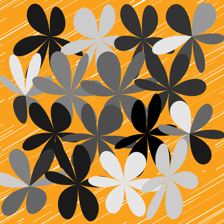 Floral pattern in orange illustration. Illustration