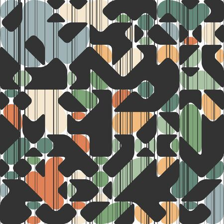 Modern Style Abstraction in Color, with Composition Made of Various Rounded Shapes and Lines, Fashion Background of Geometric Shapes, Trendy Mosaic Pattern Illustration