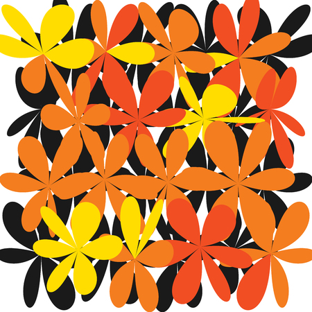 Whimsical floral background. Orange flower on white, exquisite gentle floral graphic ornament. Minimalistic fashion ornament.