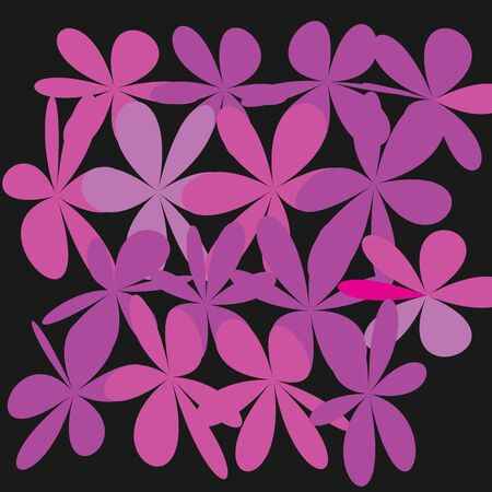 Pink Flower on Black, Exquisite Gentle Floral Graphic Ornament, Fashion style. Illustration