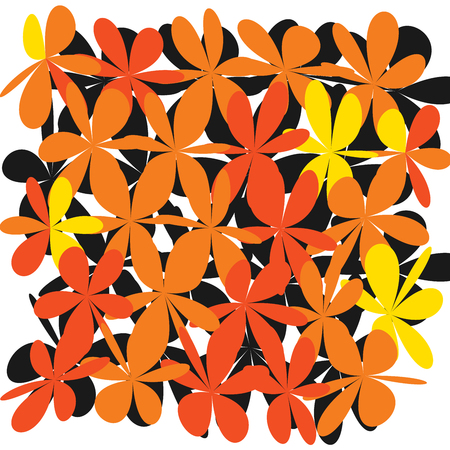 Repetitive pattern of yellow, and orange flowers ornament. Illustration