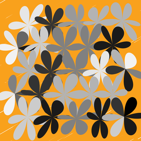 Gray black and white flower over orange illustration. Illustration