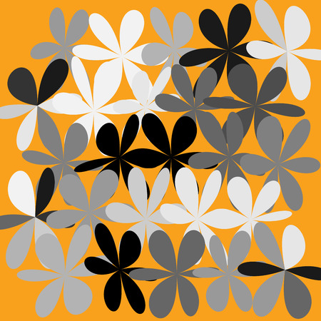 Flower abstract pattern in orange illustration.