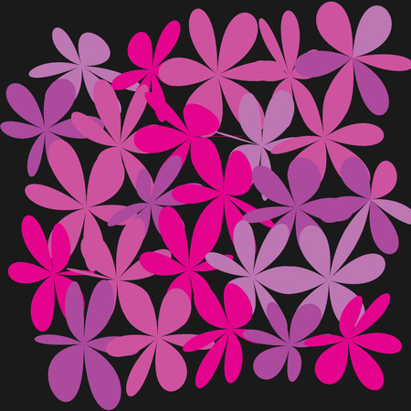 Whimsical floral background, pink flower on black, exquisite gentle floral graphic ornament, minimalist fashion ornament.