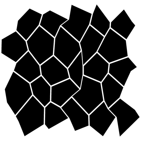 Black and White Irregular Grid, Modular Structure Mesh Pattern, Abstract Monochrome Geometric Polygon Texture, Photo Mosaic Template, Photo Collage Background.