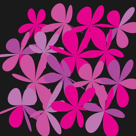 Whimsical floral background. Pink flower on black, exquisite gentle floral graphic ornament. Minimalistic fashion ornament. Illustration