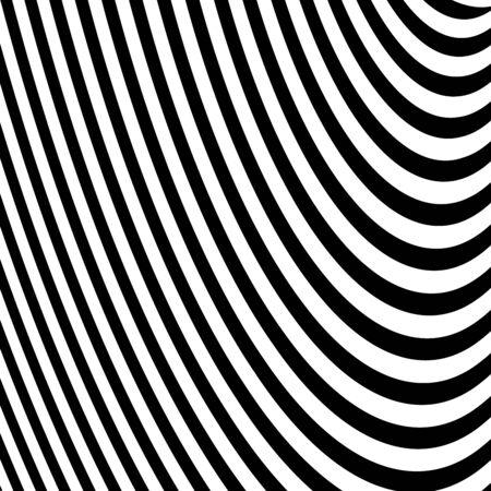 Abstract Vector Background of Waves,  Optical Illusion, Black and White Line Art, Wave Icon, Optical Art Background, Wave Design, Abstract Lines, Modern Striped Background, Zebra Stripes Illustration