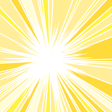 Hot and Glittering Summer Sun, Abstract Background of Sun Rays, Sunburst Background, Centered Yellow Orange Summer Sun Light Burst