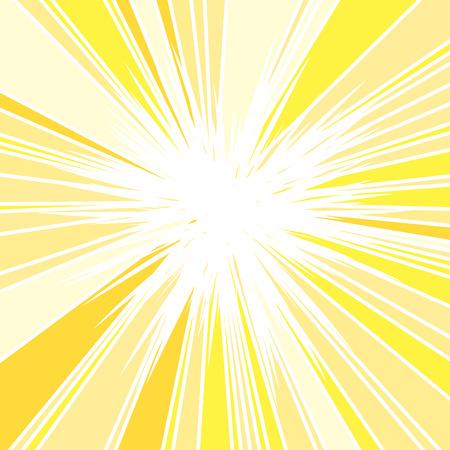 Hot and Glittering Summer Sun, Abstract Background of Sun Rays, Sunburst Background, Centered Yellow Orange Summer Sun Light Burst