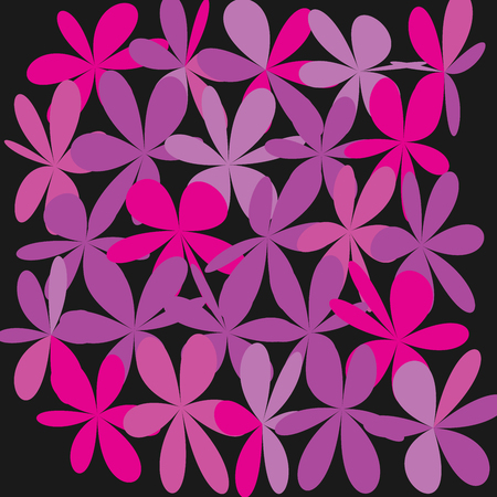 Whimsical Floral Background, Pink Flower on Black, Exquisite Gentle Floral Graphic Ornament, Minimalist Fashion Ornament