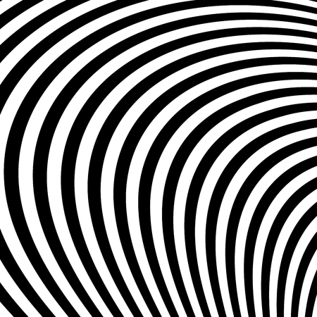 Abstract Vector Background of Waves, Optical Illusion, Black and White Line Art.