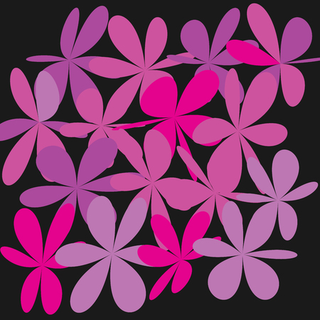 Whimsical floral background, pink flower on black, exquisite gentle floral graphic ornament, minimalistic fashion ornament. Illustration
