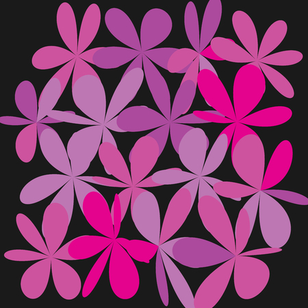 Whimsical Floral Background, Pink Flower on Black, Exquisite Gentle Floral Graphic Ornament, Minimalist Fashion Ornament design