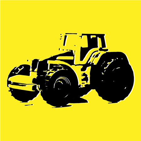 Sketch of Tractor, Tractor icon Illustration, Emblem Design, Farm Tractor Sketch