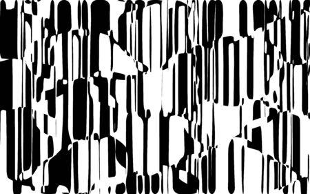 Lignes chaotiques aléatoires Texture de motif géométrique abstrait, Illustration d'art moderne et contemporain avec des lignes rayées noires et blanches, Effet de distorsion ondulé, courbe, Flexion, Lignes déformées