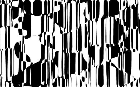 Lignes chaotiques aléatoires Texture de motif géométrique abstrait, Illustration d'art moderne et contemporain avec des lignes rayées noires et blanches, Effet de distorsion ondulé, courbe, Flexion, Lignes déformées Banque d'images - 98703239
