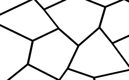 Black and white irregular grid, modular structure mesh pattern, abstract monochrome geometric polygon texture for mosaic template and  collage.