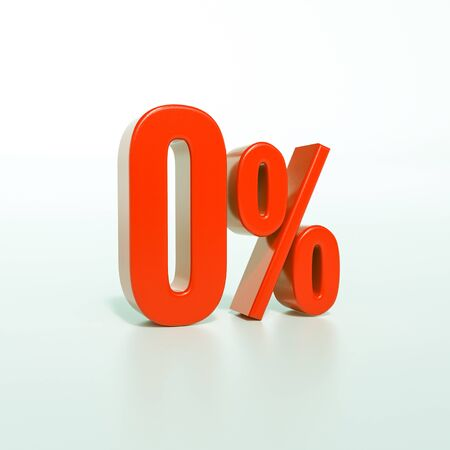 3d render: red 0 percent, percentage sign on white, 0% Banque d'images