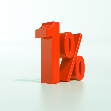 3d render: red 1 percent, percentage discount sign on white, 1%