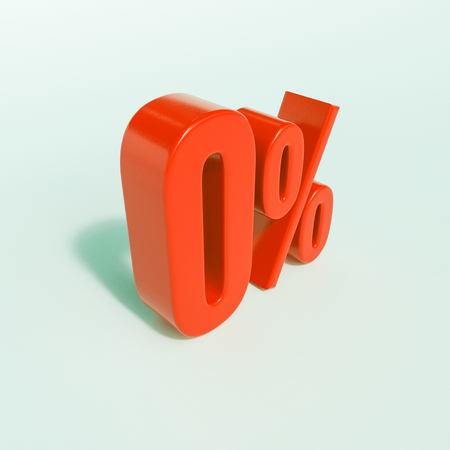3d render: red 0 percent, percentage sign on white, 0% Stockfoto