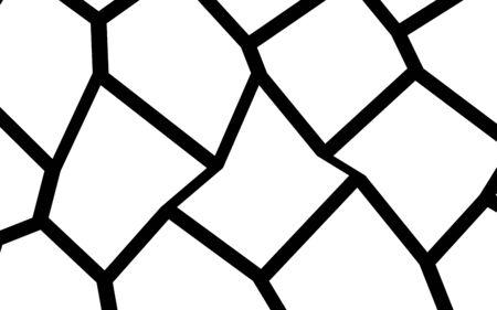 Black and White Irregular Grid, Modular Structure Mesh Pattern, Abstract Monochrome Geometric Polygon Texture, Photo Mosaic Template Banco de Imagens - 99417780