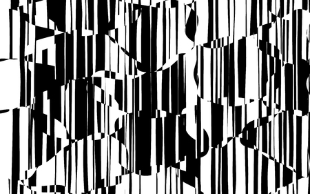 Random Chaotic Lines Abstract Geometric Pattern  Texture, Modern, Contemporary Art Illustration with Black White Striped Lines, Wavy, Curving Distortion Effect, Bending, Warped Lines Banque d'images - 101851437