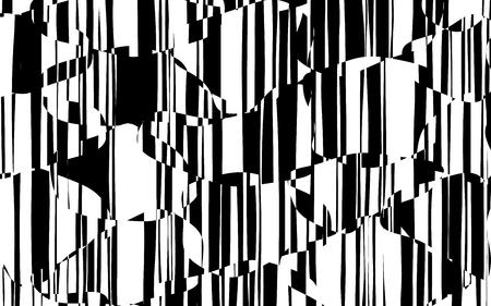 ランダムカオスライン 抽象幾何学模様のテクスチャ、現代、現代美術イラスト、黒白の縞模様、波状、曲がり歪み効果、曲げ、歪んだ線