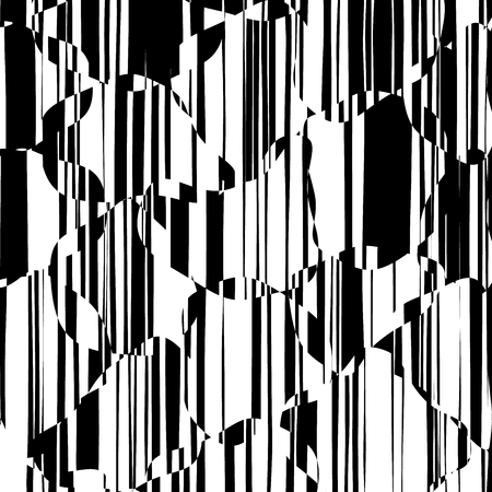 Random Chaotic Lines Abstract Geometric Pattern  Texture, Modern, Contemporary Art Illustration with Black White Striped Lines, Wavy, Curving Distortion Effect, Bending, Warped Lines Banque d'images - 102413546