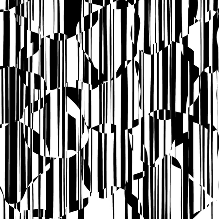Random Chaotic Lines Abstract Geometric Pattern  Texture, Modern, Contemporary Art Illustration with Black White Striped Lines, Wavy, Curving Distortion Effect, Bending, Warped Lines Banque d'images - 102431119