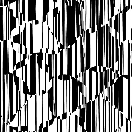 Random Chaotic Lines Abstract Geometric Pattern  Texture, Modern, Contemporary Art Illustration with Black White Striped Lines, Wavy, Curving Distortion Effect, Bending, Warped Lines Banque d'images - 103426666